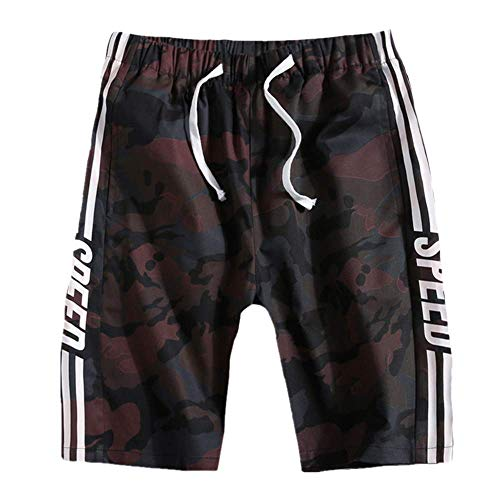 Mens Casual Shorts Sommer Fashion Sports Shorts Rote Camouflage Laufhose mit elastischer Taille XL