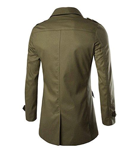 SMITHROAD Herren Mantel Trenchcoat Slim Fit Übergang Military mit Guertel Übergangsjacke Freizeitjacke Grün