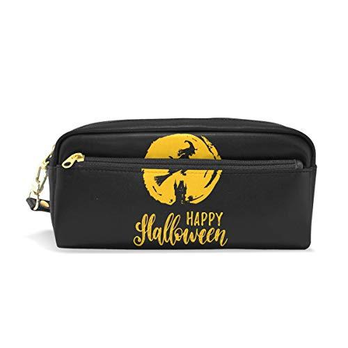 Halloween Hexe Federmäppchen für Kinder Jungen, große Ledertasche mit Reißverschluss, Schule Student Kosmetik Make-up (Make-up Kleinkind Hexe)
