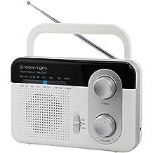 Brigmton BT-250-B Portátil Negro, Gris, Color blanco - Radio (Portátil, AM, FM, 3,5 mm, Corriente alterna, Batería, DC)