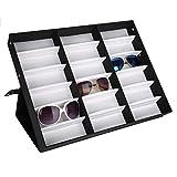 Cocoarm Brillenbox zur Aufbewahrung von 18 Brillen Sonnenbrillen Brillenkoffer Brillendisplay Brillenorganizer Brillenaufbewahrung Schwarz 47.5 x 37.5 x 6 cm