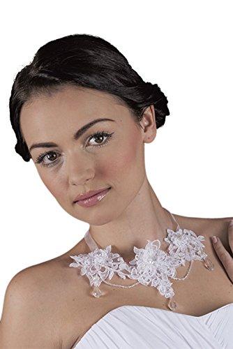 MGT-Shop mariée Collier Collier mariage mariée bijoux bijou fantaisie Chaîne dentelle 13 Weiß