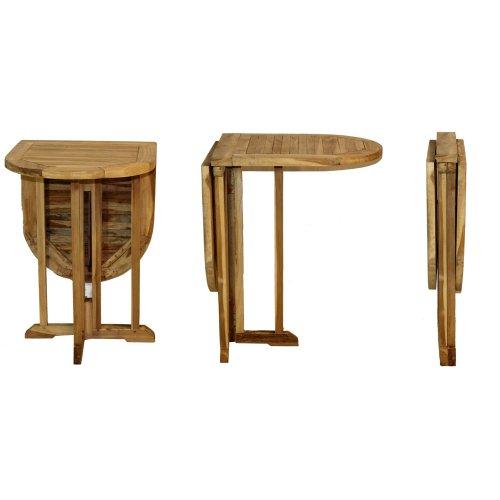 AMBIENTE-LEBENSART.DE Balkontisch-Klapptisch-Gartentisch-Beistelltisch-Bistrotisch-Teak-Massiv-Holz Oval 120 x 60 x 75cm Gateleg-Table - Klapp-esstisch