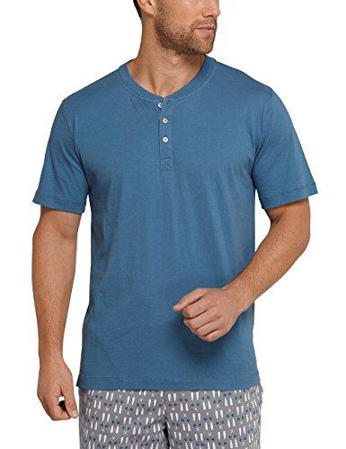 Schiesser Herren Schlafanzugoberteil Mix & Relax Shirt Kurzarm Blau (Petrol 811)