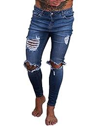 07ed4c067f LuckyGirls Pantalones Hombres Vaqueros Originales Rotos Casuales  Motocicleta Pantalones Slim Agujero Elasticos Streetwear Moda Pantalón (