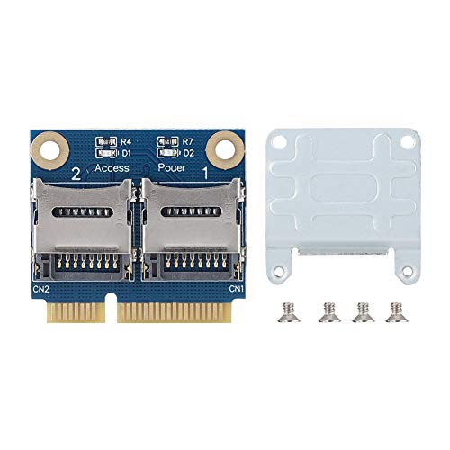 Tonysa Adapter Card Converter Extender-Karte, Mini PCI-E auf Dual Micro Secure Digital TF-Adapterkarte für Windows 7 / Vista/XP und Mac OS, kompatibel mit USB 2.0 und abwärtskompatibel mit USB 1.1 - Mini-pci Express-integriert