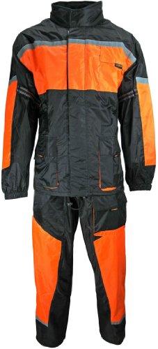 HEYBERRY Motorrad Regenkombi Regenhose Regenjacke schwarz neon orange Gr. L