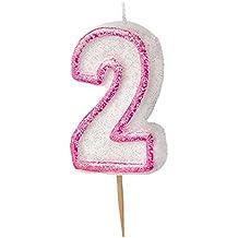 75db86846271 Unique Party Vela de cumpleaños número 2 Color rosa brillante 37912