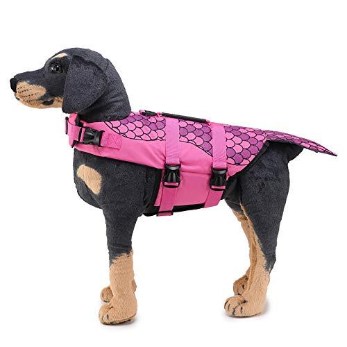 Hunde Samojeden Kostüm - CLLUZU Pet Life Jacket Meerjungfrau Reflektierende Skalen Hund Kostüme wasserdichte Schwimm Badeanzug Nette Schwimmweste Rose