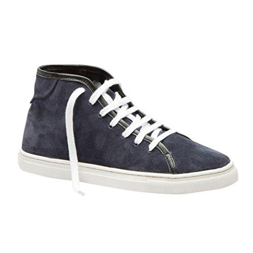TEDISH Chaussures Femme Confortable Lacets Plat de Marche Cuir Outdoor Loisirs Dames Baskets Mode-TD005 Esme Dark Blue