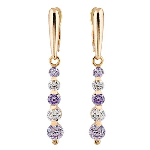 YAZILIND elegantes Gold 18K überzog runde lila Zirkonia CZ Quasten baumeln Ohrringe für Frauen