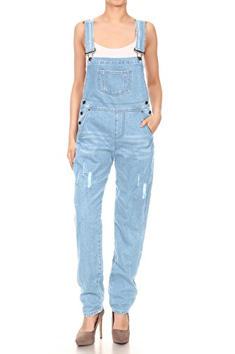 Anna-Kaci Womens Distressed Denim Overalls With Tapered Leg and Pockets