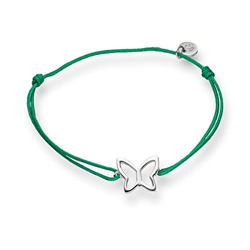 Glanzstücke München Damen-Textilarmband grün Schmetterling Sterling Silber 15 - 22 cm - Armbändchen Armband mit Anhänger Stoffbändchen Armkettchen Textil (Schmetterlings-armband)