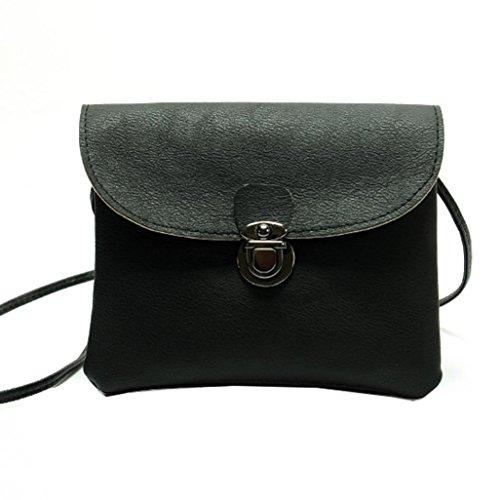 Fuibo Frauen Handtaschen Umhängetasche Leder Messenger Hobo Taschen Satchel Totes Geldbörse (Schwarz) (Kleine Flap Tasche Tote)