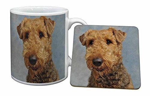Advanta - Mug Coaster Set Airedale -Terrier-Hund Becher und Untersetzer Tier Geschenk -