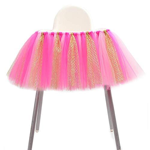 Tischröcke, Tüll Tutu Rock Glanz für Hochstuhl Geburtstag Deko Haus Dekoration Baby-Geburtstagsfeier Babydusche, Rosa Rose Rot ()