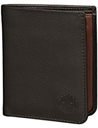 Hide & Hues Ultra Slim Black & Brown Genuine Leather Mini Wallet/Card Holder For Men & Women