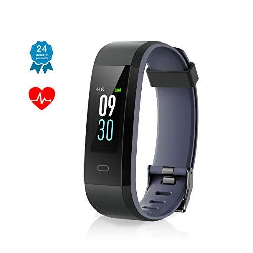 Muzili Fitness Armband IP68 Wasserdicht Fitness Tracker Sport Uhr Fitness Armbanduhr Aktivitätstracker schrittzähler Pulsuhren Smart Watch Fitness Uhr für Kinder Damen Herrn(Black+Grey)