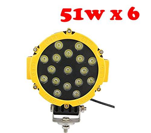 tanli 51 W LED Flood Spot Ampoule de voiture lampe de travail LED Feux Diurne lumière de la lumière des phares de Campo A Traves de SUV UTV ATV jaune 6 pièces