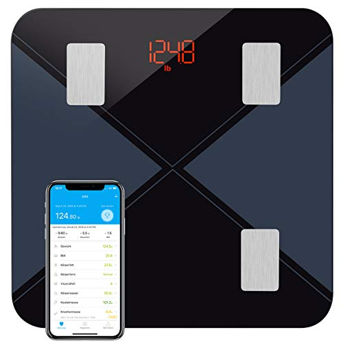 Personenwaage Digital, Mpow Körperfettwaage Testsieger Waage Personen Bluetooth Smart Digitale Waage mit APP für Körperfett-Schwarz -