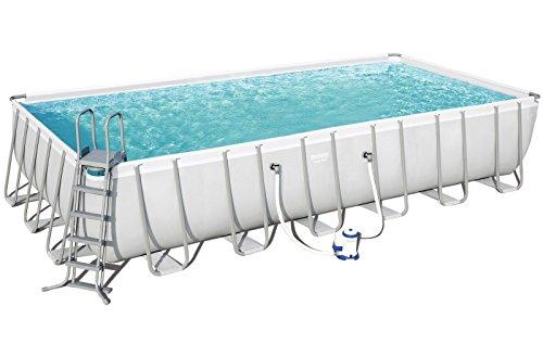 Bestway Power Steel Frame Pool Komplettset, viereckig, grau, 732 x 366 x 132 cm