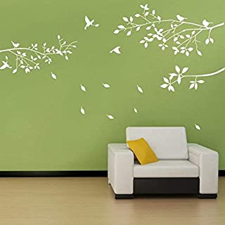 BDECOLL Tree Branch Wall Decal with Birds Wall Decals Vinyl Sticker Nursery Living Room Wall Sticks (white)