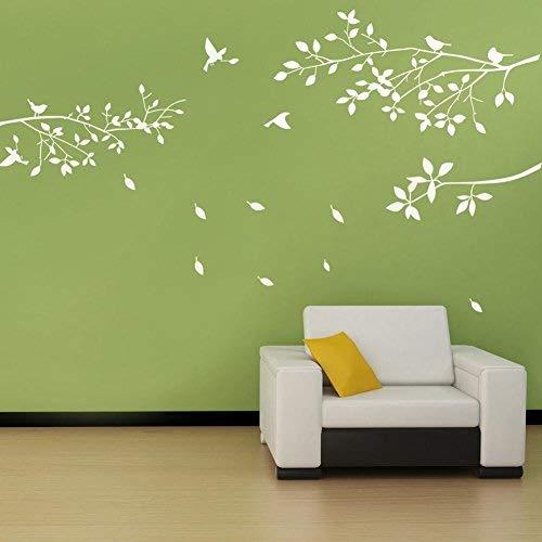 BDECOLL Decalque de pared de rama de árbol con pegatinas de pared de pájaros Adhesivo de vinilo de pared de salón de vivero (Blanco)