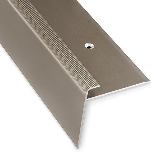 Treppenkantenprofil Safety | bronze dunkel | F-Form | 53mm Höhe mit einer Einfasshöhe von 7-8mm | Erhältlich in 4 Farben und 3 Längen (134cm)