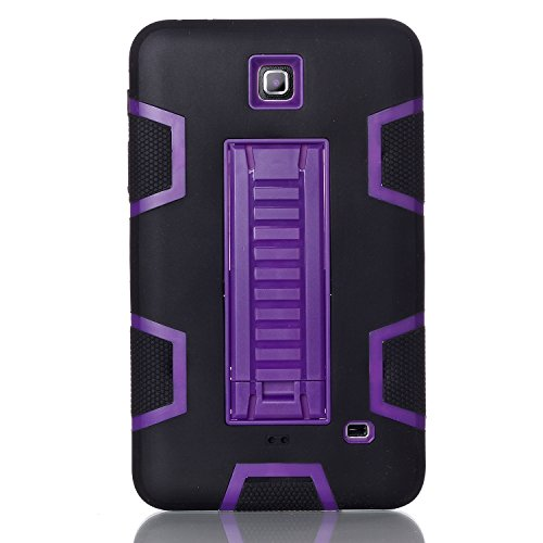 all, beimu 3 in 1 Combo Hybrid Heavy Duty Armor Fullbody Holster Rugged Defender Schutzhülle Stand Case für Samsung Galaxy Tab 4 7.0 T230/T231/T235, Schwarz/Violett ()