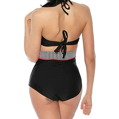 Booolavard® Vintage Push Up Bikini im Retro Rockabilly Style in schwarz/rot/weiß Größen S M L oder XL (L (38-40)) - 3