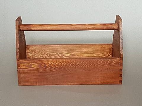 Werkzeugkiste Montagekiste Nagelkiste Holzbox 42 x 21 x 26 cm, Vollholz, braun lasiert, NEU