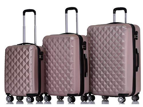 BEIBYE Zwillingsrollen 2066 Hartschale Trolley Koffer Reisekoffer Gepäck M-L-XL-Set (Rosa Gold, Set)