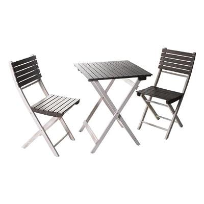 My Garden 422232 Balkonset Gartenmöbel Set 2 Stühle + 1 Tisch eckig Akazie weiss-hellgrau