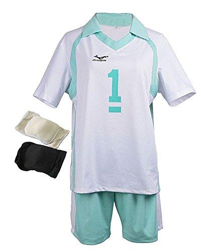 Agaruu Haikyuu Cosplay Oikawa Uniform Stil Aoba Johsai Schulkostüm Knieschoner Set Gr. Medium, 1 (Haikyuu Cosplay Kostüm)