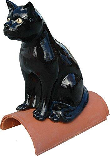 Firstfigur sitzende Katze aus Keramik schwarz glasiert (Katze Figur Glasiert Keramik)