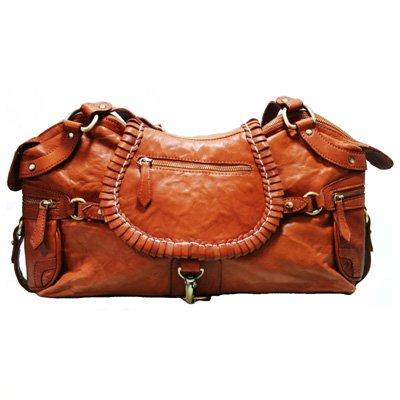 BACCINI® Handtasche mit langen Henkeln GISELE - Damen Schultertasche groß Ledertasche - Handtasche in lässiger Gaucho-Optik Damentasche echt Leder creme hellbraun-cognac