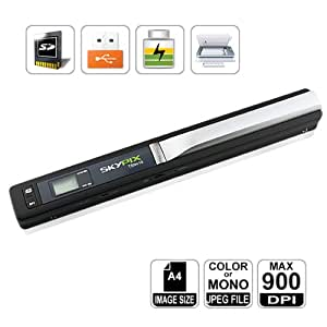 High Resolution 900DPI Portable Scanner, Mini SKYPIX Handy Handheld, A4 Color Photo, Easy to Instantly Scan and Digitize Anything