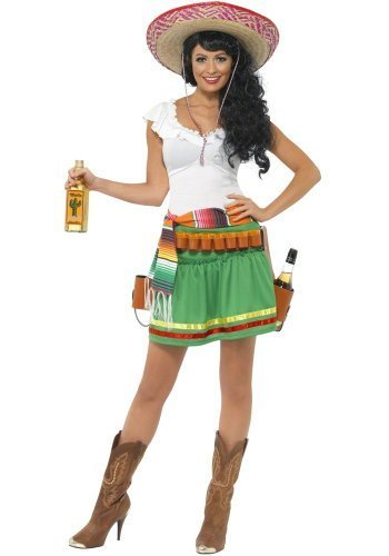 by Ladies Sexy Mexican Tequila Shot Shooter Girl Fancy Dress Party Costume Outfit UK 8-18 (UK 8-10)