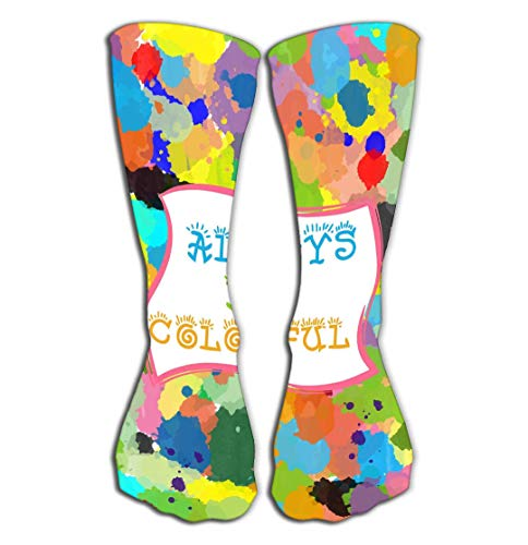 BAOLANZHANG Hohe Socken Outdoor Sports Men Women High Socks Stocking Colorful Graphic Design be Quote Frame Watercolor Splashed Background Print Tile Length 19.7
