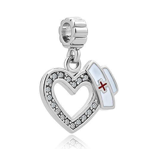Uniqueen Crystal RN Nurse Cap Hat European Dangle Heart Bead Charm Sale Cheap Fit Padora Bracelet