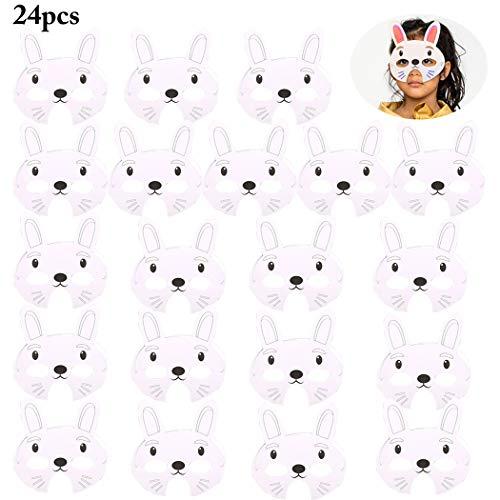 Joyibay 24PCS Kinder Tiermasken DIY Blank Rabbit Papiermasken Party Ostern Masken