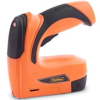 VonHaus Cordless Electric Staple Gun/Stapler/Tacker/Staple & Nail Gun 2-in-1, Rechargeable Li-Ion Battery 3.6V–Includes 1000 Nails & 1000 Staples– for Upholstery, Fabrics, Textiles & Thin Wood