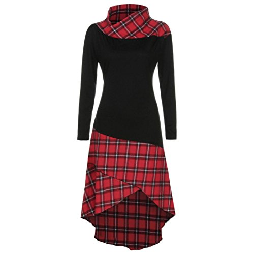 ce Plaid Panel Plus Size Kleider Women's Long Sleeve Beiläufige Loose T-Shirt Dress Blouse Top High Neck Plaid Muster Patchwork Kleid Langarm Kleid (M, rot) (Plaid Mädchen Kleider)