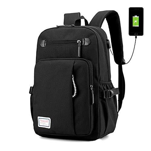 ck 12-15,6 Zoll für Männer Schulrucksack,Schulrucksack Backpack mit USB Anschluss,Schultaschen für Herren Männer Reise Wandern (Schwarz) ()