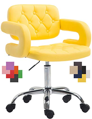 Silla de oficina amarilla con ruedas tapizada en cuero sintético