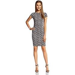 oodji Collection Damen Enges Kleid mit Rückenausschnitt, Grau, DE 36 / EU 38 / S
