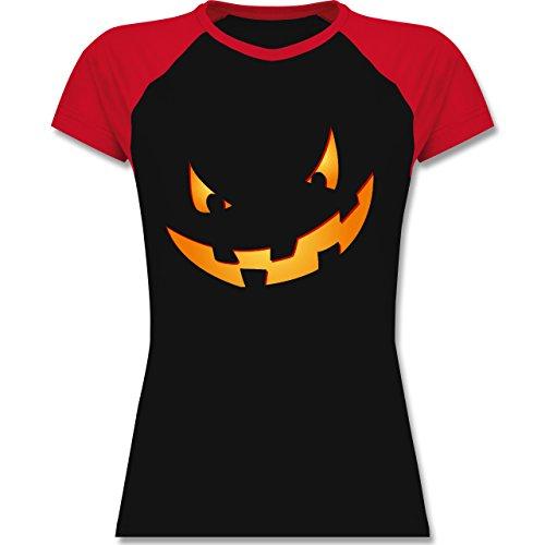 Halloween - Kürbisgesicht klein Pumpkin - zweifarbiges Baseballshirt / Raglan T-Shirt für Damen Schwarz/Rot