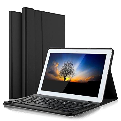 IVSO Lenovo Tab4 10 QWERTZ Tastatur, Abnehmbare Wireless Bluetooth Tastatur Schutzhülle mit Standfunction für Lenovo Tab4 10 / Lenovo Tab 4 10 Tablet, Schwarz