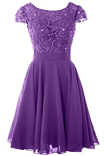 MACloth Women Cap Sleeve Mother of the Bride Dress Lace Short Formal Party Gown Regency