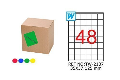 TANEX TW de 2137Farbige etiquetas Azul 35x 37,125mm-Rectangular de 25Bl. A4